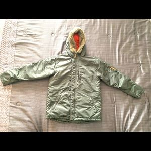 Old Navy Boy's Winter Hooded Khaki Jacket. Size 16